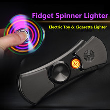 Hand Spinner font b Electronic b font Cigarette Lighter Flameless Metal Plasma Arc USB Lighters Fun