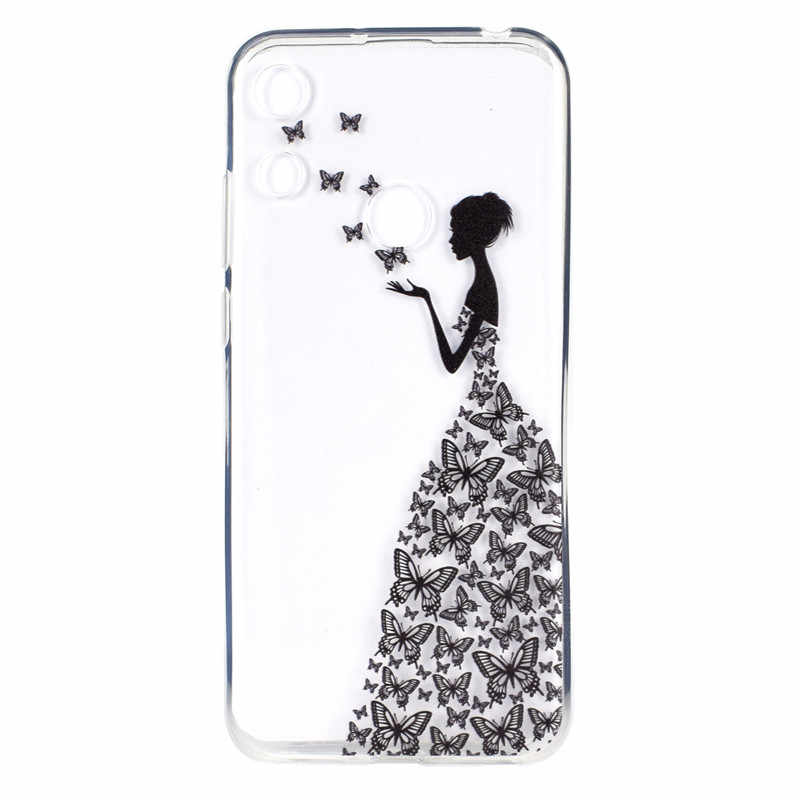 Transparent Soft TPU For Huawei Honor 8A Case Cover Colour decoration Tower bike Butterfly Girl Design Mobile Phone Cases
