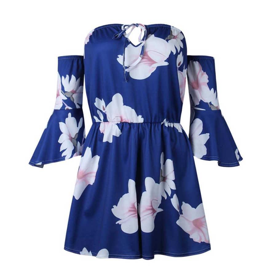 Mavi çiçek baskı tulum tulumlar kadınlar 2018 için dantel up ruffles tulum rompers bayan tulum 0S8704 dropship