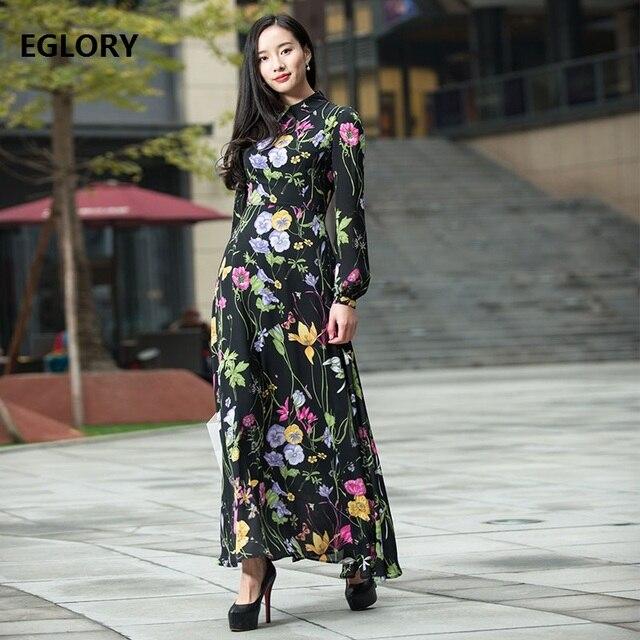 3b3a5ce749 Long Sleeve Maxi Dress Top Quality Women Turn-down Collar Vintage Retro  Flower Print Long Dress Spring Summer 2018 Boho Femme