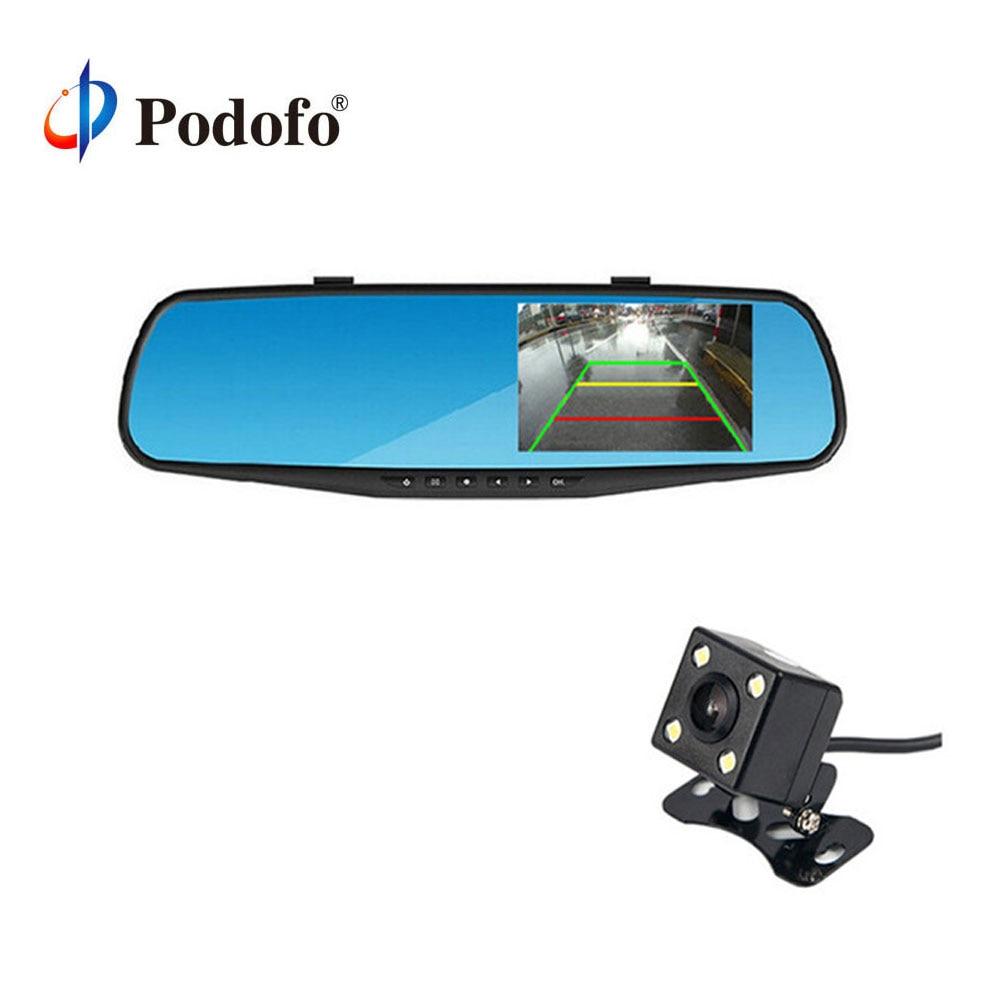Podofo 4.3 pouce IPS Écran Voiture Rétroviseur Full HD 1080 P voiture Caméra Parking Nuit Vision Voiture DVR Double Lentille Enregistreur Vidéo