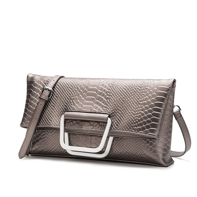 Female Bag Silver Crocodile Pattern 100% Genuine Leather Folding Envelope Handbag Inclined Women Shoulder Bag Foldable Messenger the new 2015 female bag pu leather color matching envelope bag shoulder inclined a001 messenger bag bag free shipping to women