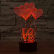 3D Illusion Heart Ballons LED Bulbing Night Light Romantic Atmosphere Table Lamp Home Decor Gadget Nightlight Gift for Lovers