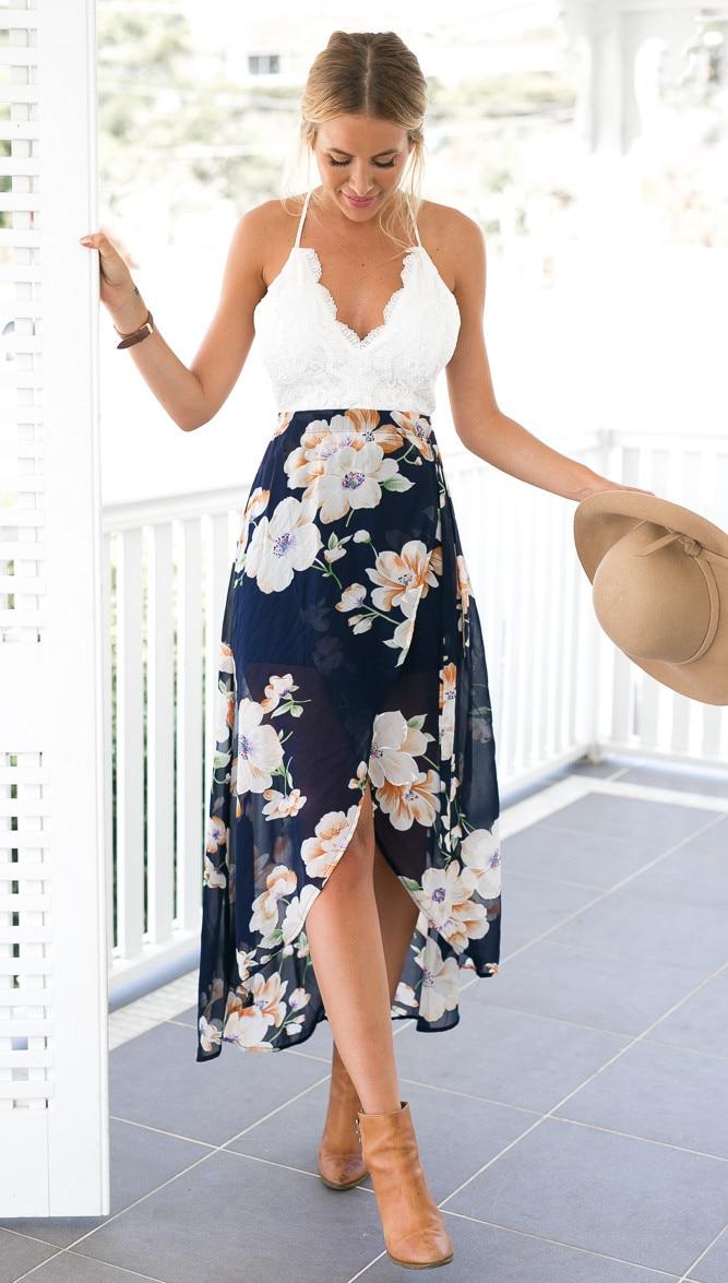 Летний стиль женские длинные с цветочным принтом в стиле пэчворк платья Sexy V NACK женские кружевное платье l119