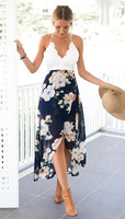 Summer Style Women Lace Long Flower Print Patchwork Dresses Sexy V Nack Women Lace Dress L119