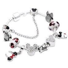 22acf5565e06 HOMOD 2018 Venta caliente de moda hecho a mano Mickey Minnie pulseras del  encanto se adapta a Pandora pulsera para las mujeres d.