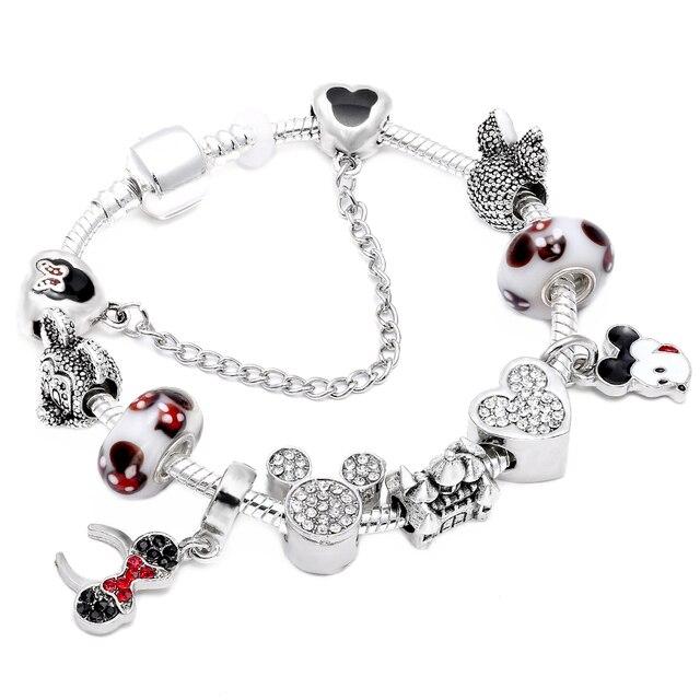 c0e63d550 HOMOD 2019 Hot Sale Fashion Handmade Mickey Minnie Charm Bracelets Fits Pandora  Bracelet For Women DIY Jewelry Dropshipping