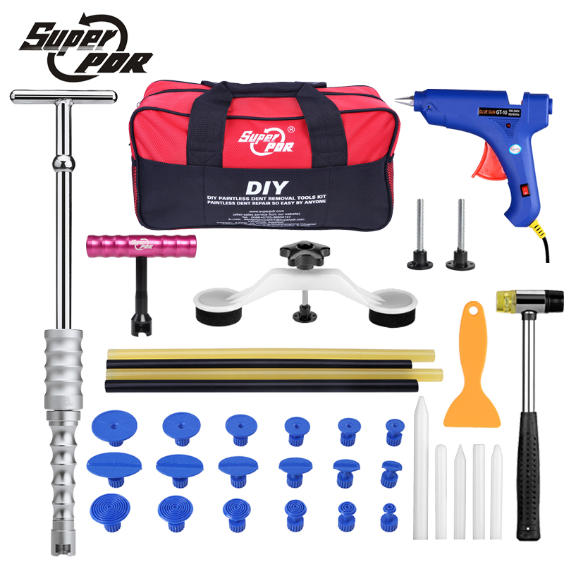 Super PDR dent repair hand tools slide hammer dent lifter pulling bridge glue gun tool bag car body dent removal tool kit super pdr slide hammer glue gun glue sticks dent repair tools dent lifter car dent removal tool set 29pcs