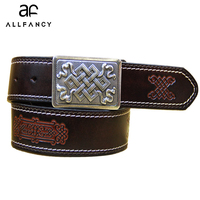 Cow Genuine leather belt woman Vintage floral metal buckle Wide belts for women Top quality strap for female jeans