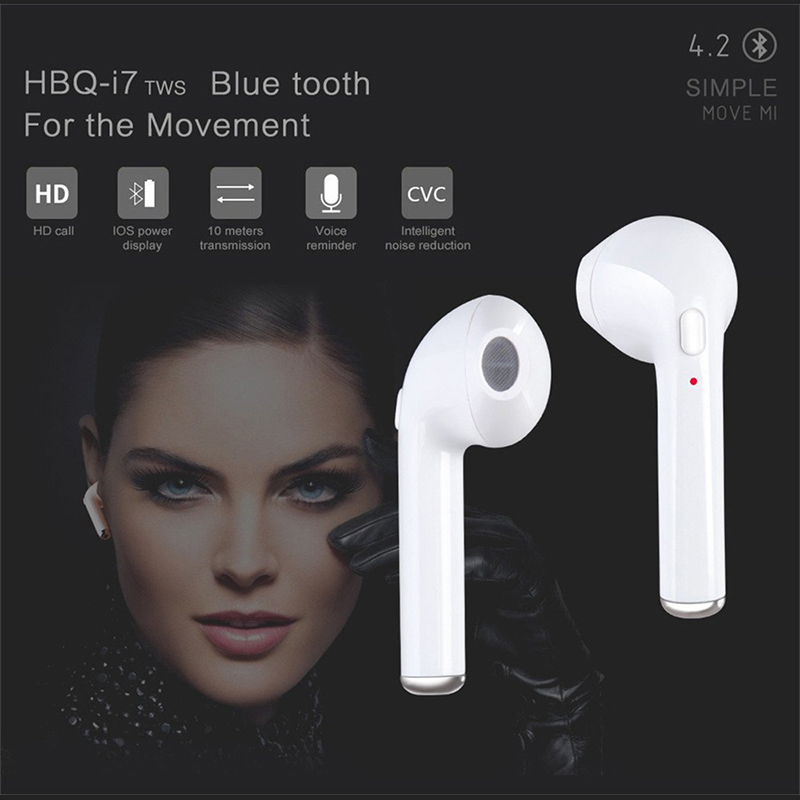 HCQWBING HBQ I8 Double Ear TWS Bluetooth Earphone Wireless Earbuds In-Ear Headset Mini Headphone With Mic for iphone X Android
