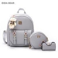 DIDA BEAR Fashion 4pcs Set Bag Women Leather Backpack Cute School Backpacks For Teenage Girls Female