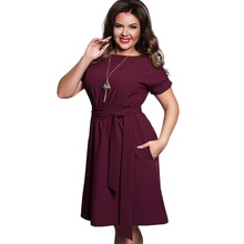 Summer Dress Big Size Office Dress Blue Red Green Dresses Plus Size Women Clothing With Belt Vestidos 5XL 6XL Large Size 2018 цена