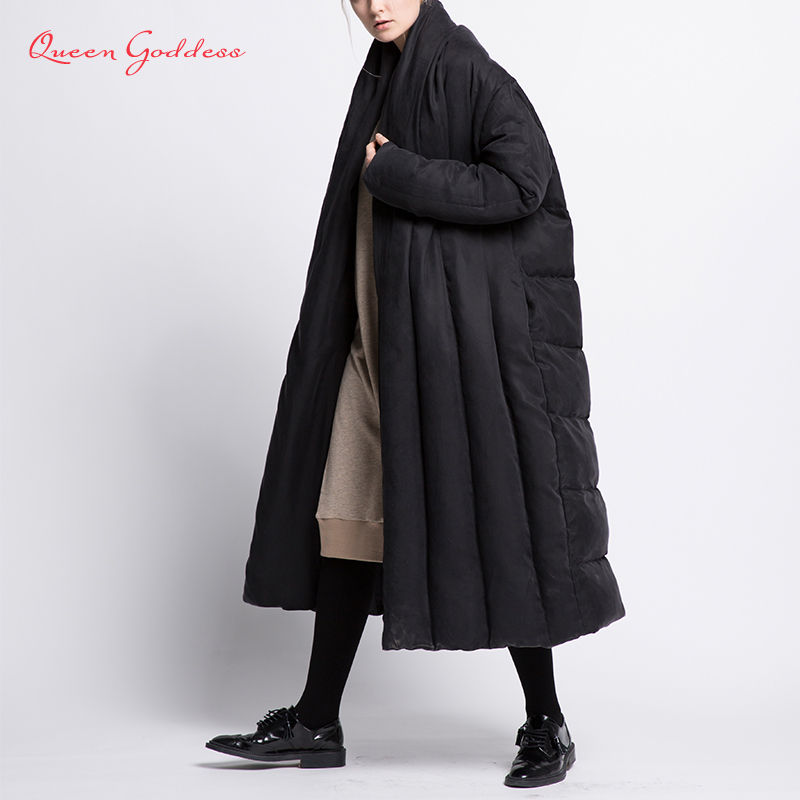 Original Fashion Style Winter Long Down Womens Jacket Thicken Coat Loose Warm Parkas Cloak Type Outwear Soft Fabric Comfortable
