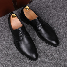new arrival men's fashion business office career wedding formal dress breathable soft cow leather shoes pointed toe oxfords shoe