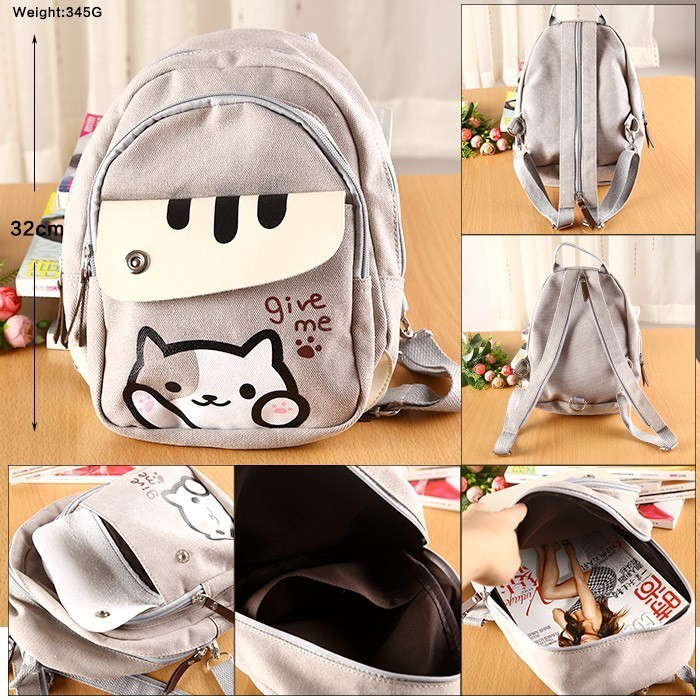 Kitty Cat Backyard Neko Atsume Backpack Comic Periphery Dual Portable Canvas Shoulders bag Cartoon Accessory Kids Anime Gift kitty cat backyard neko atsume backpack comic periphery dual portable canvas shoulders bag cartoon accessory kids anime gift
