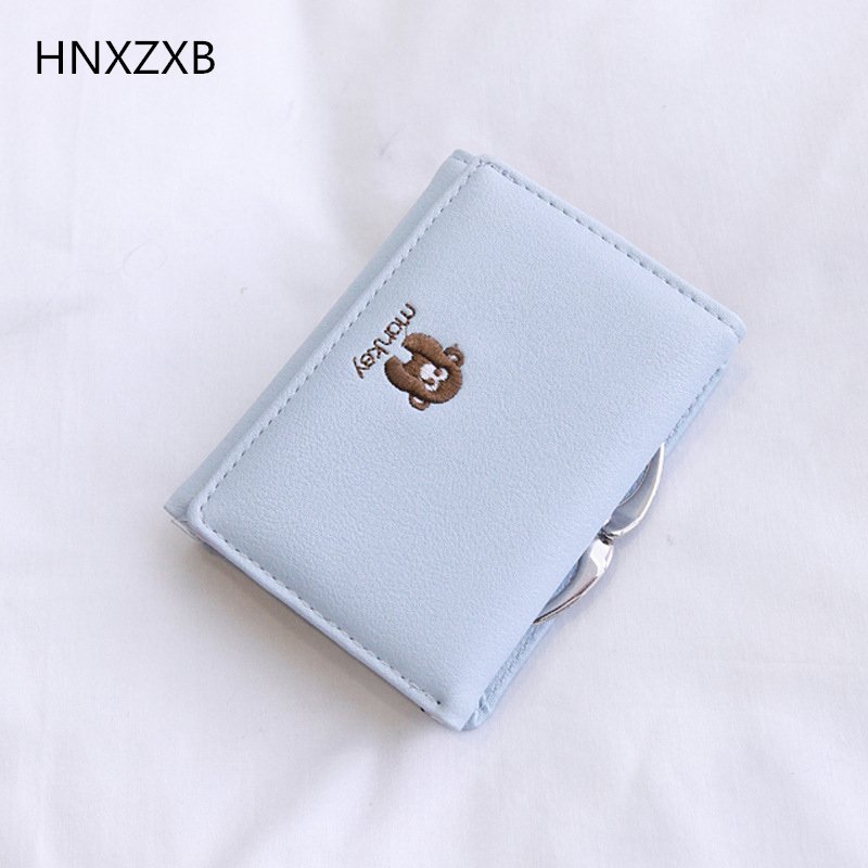 HNXZXB Christmas Gift New Arrival Fashion Women Wallets Cute Small Monkey Short Design Purse Three Fold Hasp Wallet Clutch fashion women wallets multi function high quality small wallets rivet love short design three fold wallet coin purse for women