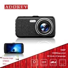 ADDKEY coche dvrs 4 pulgadas cámara escondida cámara Novatek 96655 full hd 1080 P dash cam g-sensor de visión nocturna de 160 grados de doble lente del dvr del coche