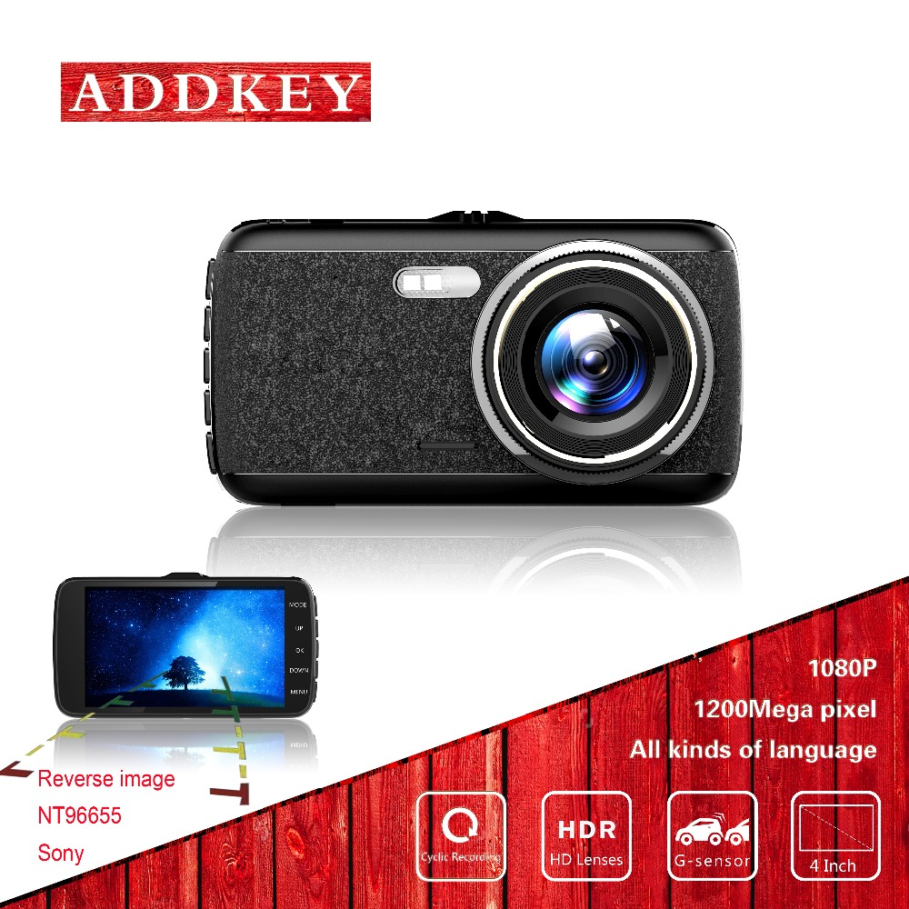 imágenes para ADDKEY coche dvr 4 pulgadas cámara Novatek 96655 full hd 1080 P g-sensor dash cam visión nocturna sony imx 322 lente dual del coche dvr dash cam