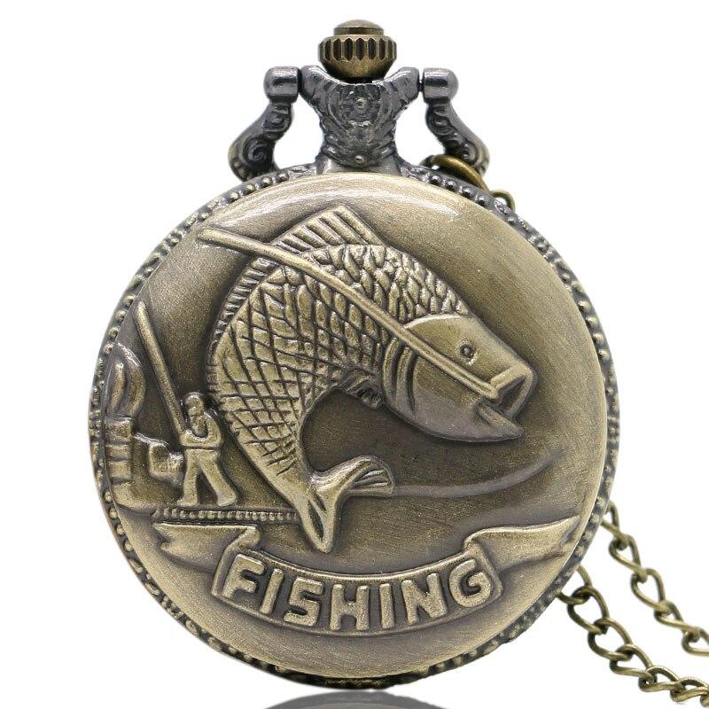 Steampunk Antique Vintage Bronze Fishing Angling Quartz Chain Pocket Watch Necklace Pendant Mens Gift 2018