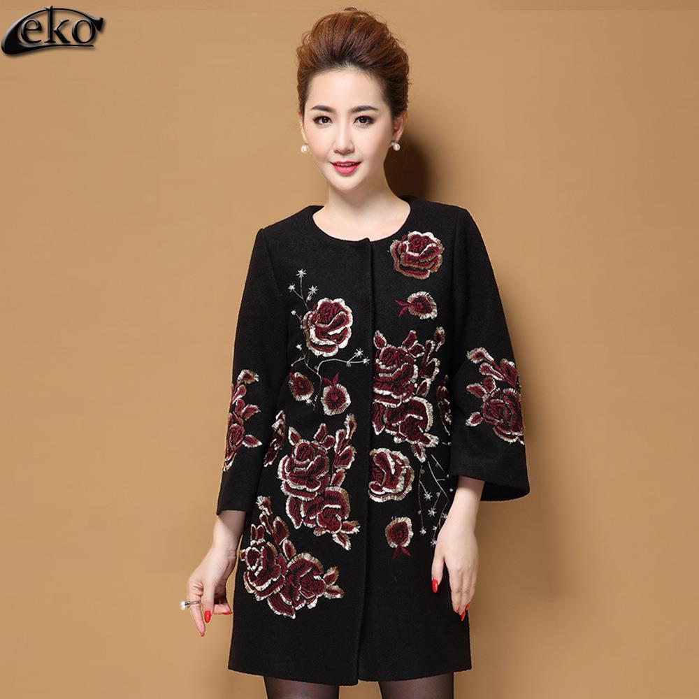 Haut Fleur De red Taille Xxxxxl Imprimer Vestes Femmes Chinois Black Laine Femelle Manteaux Plus Outwear Vintage Long Gamme La D'hiver Manteau Broderie qxAwnIt1
