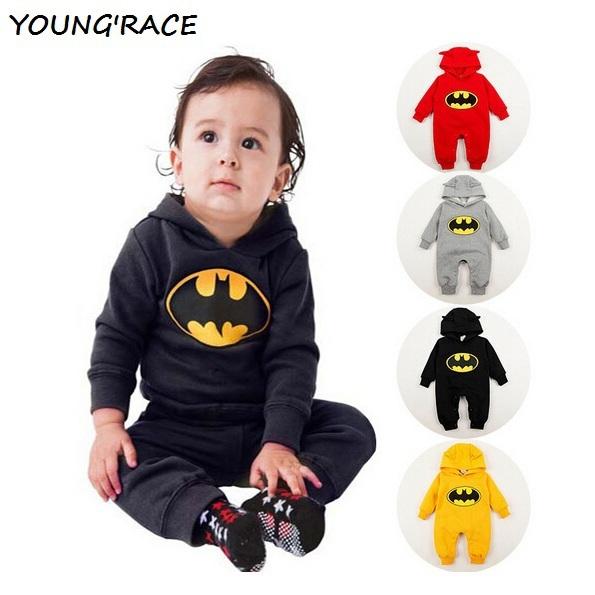 2015 Marca New Baby Meninos Batman Macacão Meninos Bebê Dos Desenhos Animados Inverno Europeu Batman Hoodies Terno Recém-nascidos Meninos Criança Outwear, C088