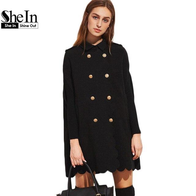 Шеин Мыс Пальто Женщин Дизайнер Зимние Пальто Верхняя Одежда Женщин Элегантный Черный Двойной Брестед Нагрудные Гребешок Край Мыса Пальто