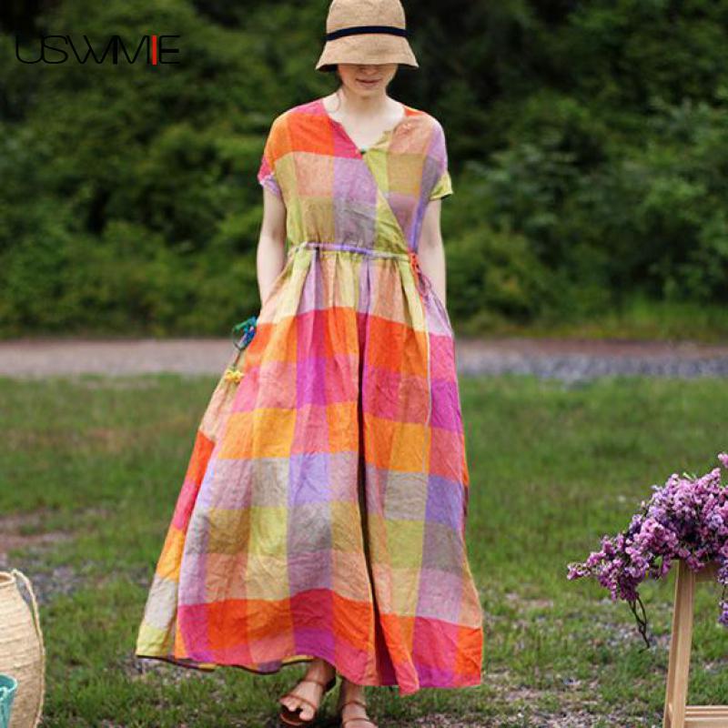 Kadın Giyim'ten Elbiseler'de 2019 Yaz Artı Boyutu Elbise Edebi Çok Renkli Ekose Gevşek V Yaka Vestidos Cepler Kısa Kollu Toplamak Bel Zarif Elbise'da  Grup 1