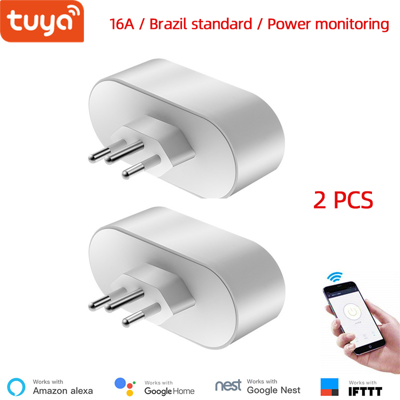 Wholesale 2 Pieces Alexa Compatible WiFi Socket Brazil Standard 16A Tuya App Remote Control Power Monitor