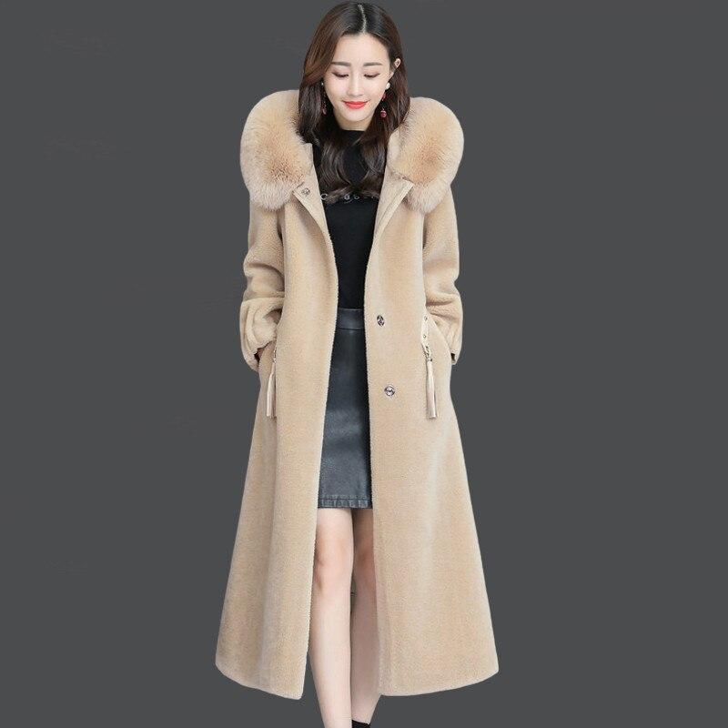 M-4XL Nouvelle de Femmes Cisaillé Moutons Manteau D'hiver 2019 Mode Renard Col De Fourrure À Capuchon Veste Épaissir Mince Longueur Tops Survêtement femelle