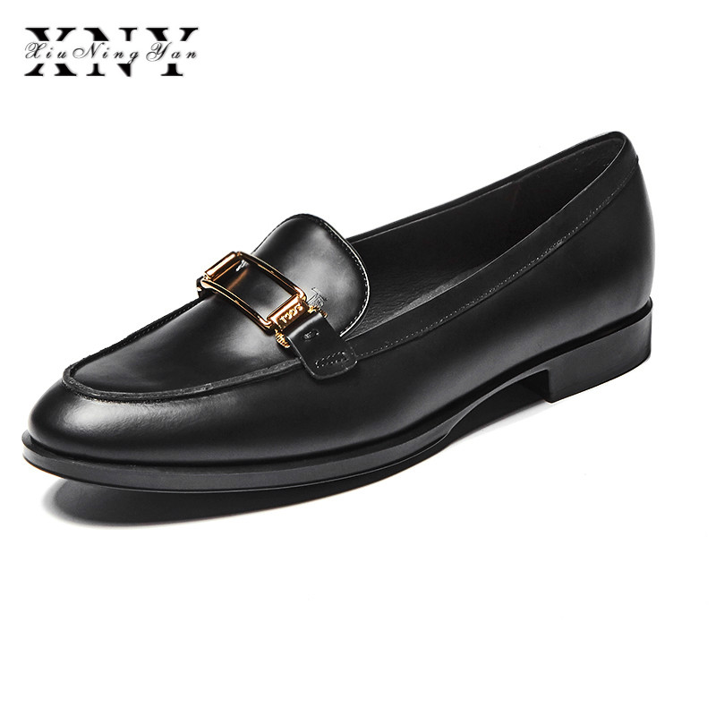 XIUNINGYAN Superstar Women Casual Shoes Metal Low Heel Flat Women Oxfords Leather Platform Spring Round Toe Slip-on Shoes Woman high quality women oxfords low heel casual shoes patent leather tassel comfort slip on round toe creeper black loafers