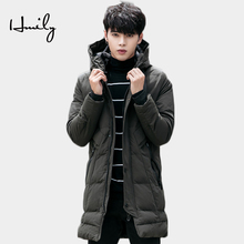 HMILY Men New Winter Jacket Warm Thicken Long Cotton Mens Coats Hooded Zipper Male Parkas Brand Fashion