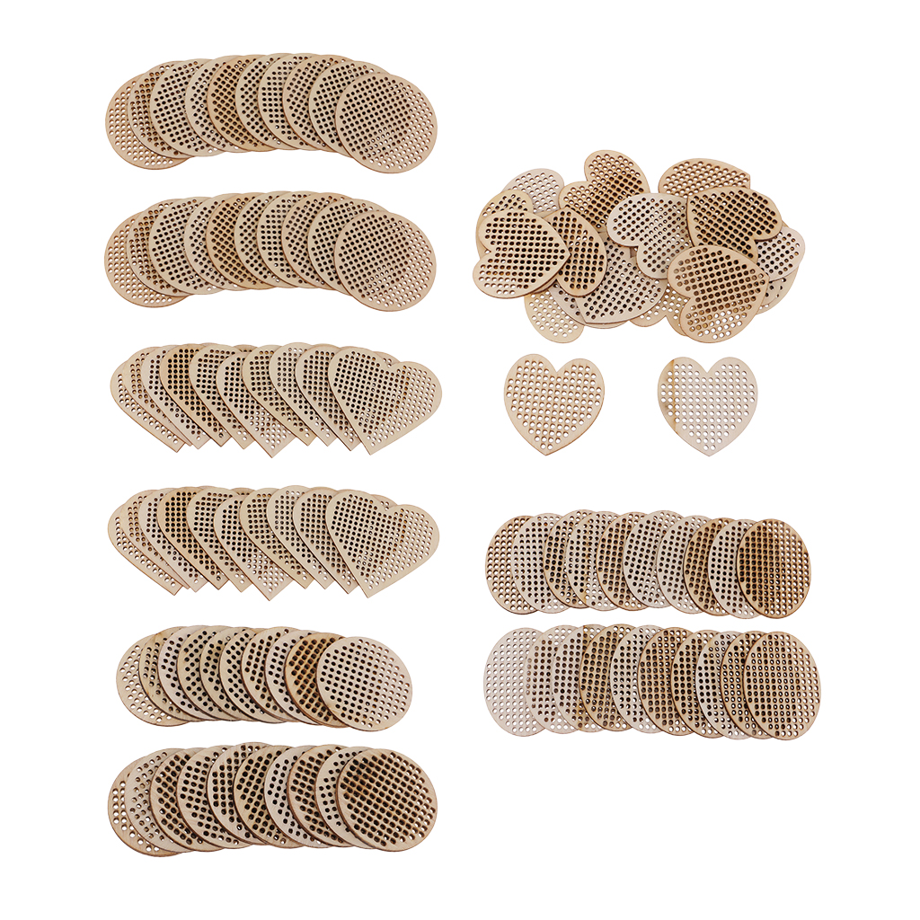 20pcs Oval Round Heart Wooden Cross Stitch Pendant Natural Wooden Embellishment DIY Jewelry Making Craft Wood Charms
