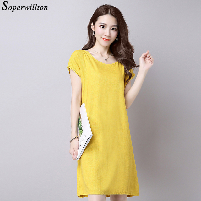 US $13.86 25% OFF|Loose Plus Size Cotton Linen Summer Dress pompon Blue  Pink Yellow Midi Dresses For Women 2019 Casual Sleeveless Dress vestidos-in  ...