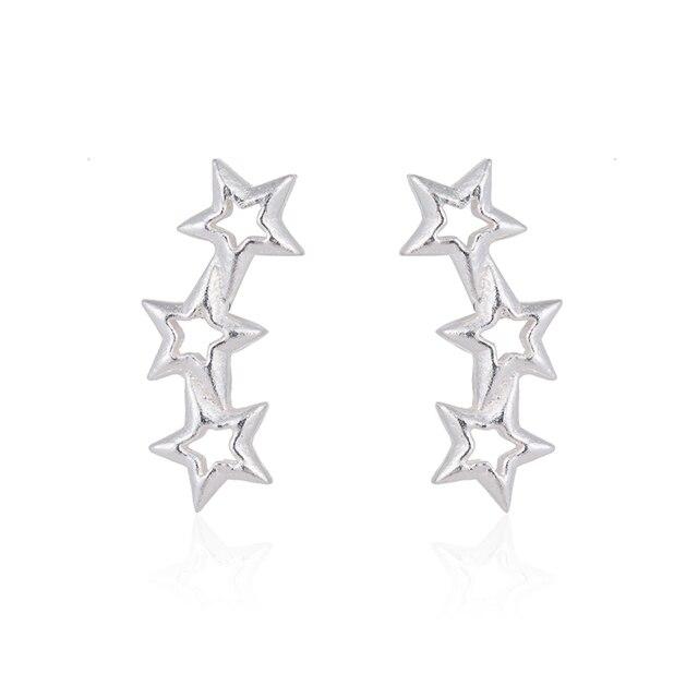 Hfarich Fine Jewelry 925 Sterling Silver Earrings Classic Star Earrings for Wome