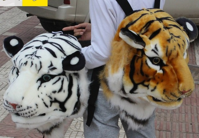 3D animal head beast backpack tiger head lion panda Panther Plush knapsack  fashion trendsetter