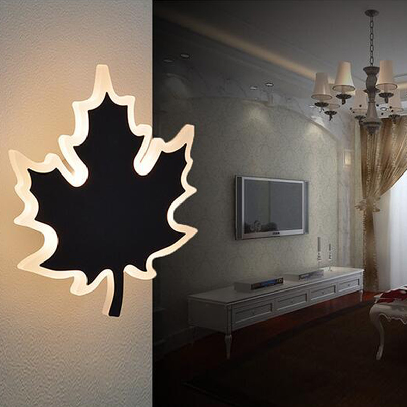 SGROW Kitchen Bathroom Wall Lighting Acrylic Maple Shape Wall Sconce Modern LED Wall Lamp Bedroom Bedside Light Indoor Lighting modern t shirt led wall lamp mounted light bedroom bedside sconce acrylic lampshade white painting indoor home lighting