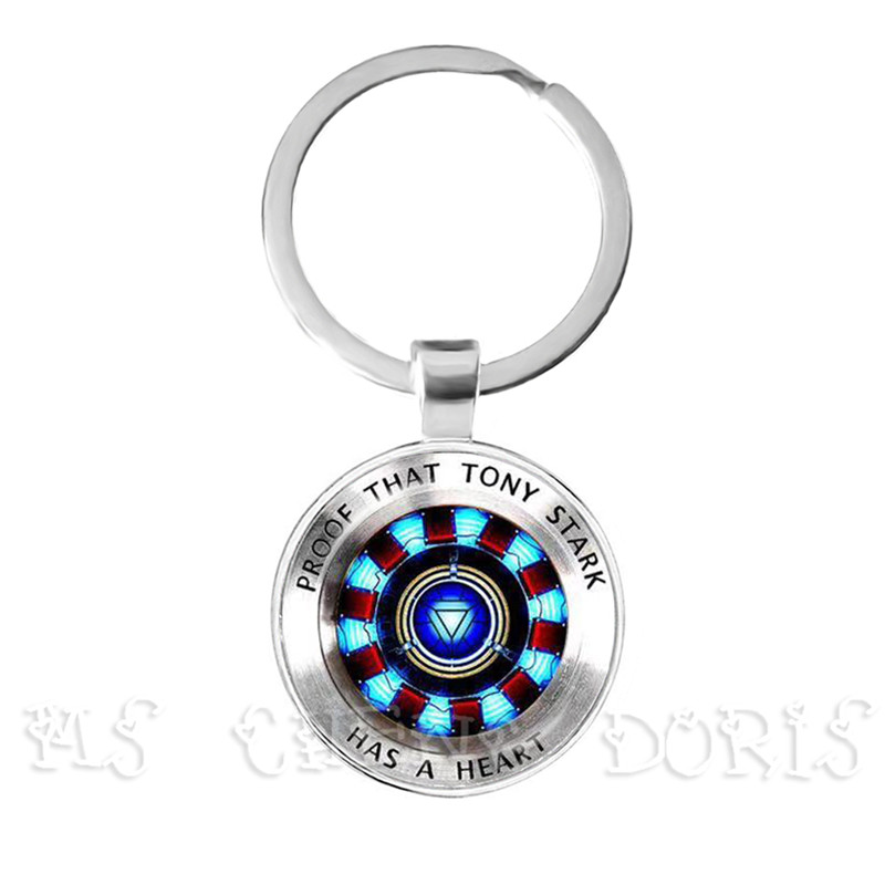 Glass Cabochon Pendant Marvel Iron Man Tony Stark Arc Reactor Keychains The Avengers 4 Endgame Quantum Realm Film Souvenir