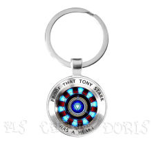 Glass Cabochon Pendant Marvel Iron Man Tony Stark Arc Reactor Keychains The Avengers 4 Endgame Quantum Realm Film Souvenir(China)