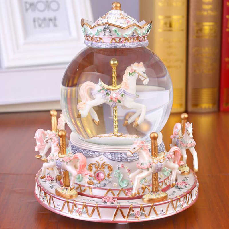 Flashing LED Light Resin Carousel Crystal Ball Music Box Kids Girls Valentine's Day Birthday Gift Toy Wedding Home Decor Crafts