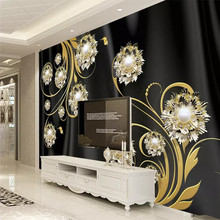 3D high-end black silk jewelry pattern TV background wall paper mural home decoration custom photo wallpaper