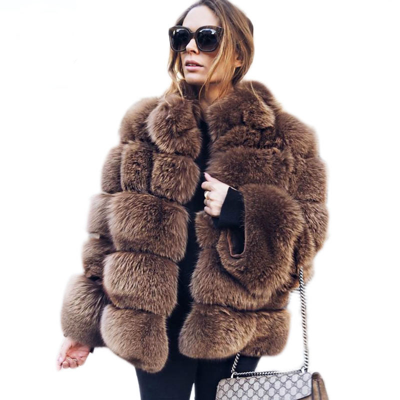 ZADORIN High Quality Thicken Pink Faux Fur Coat Women Plus Size Stand Collar Long Sleeve Faux