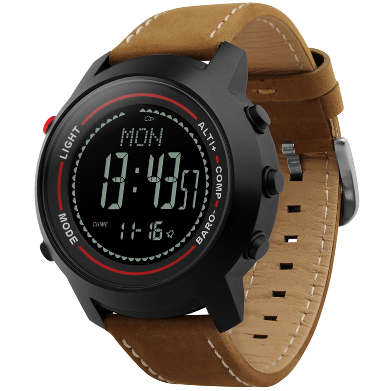 Moda masculina Pulseira de Couro Multi-Função 50 m Alpinista Profissional À Prova D' Água Esportes Relógio Altímetro Barômetro Termômetro