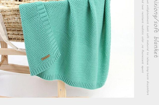 MOTOHOOD Kids Blanket Casual Baby Blankets Knitted Newborn Swaddle Wrap Soft Toddler Sofa Crib Quilt Baby Stroller Blanket (9)