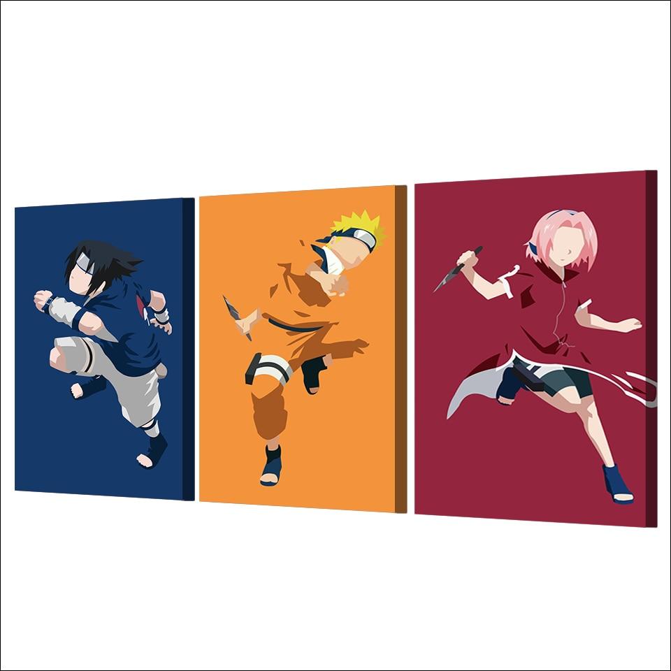3 Teile/satz Gerahmte HD Gedruckt Naruto Sasuke Sakura Comic Poster ...
