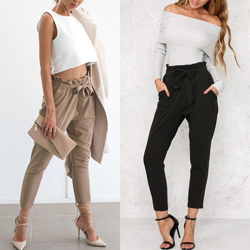 Fashion Women Skinny High Waist Long Pants Bandage Casual Stretch Pants Slim Pencil Trousers