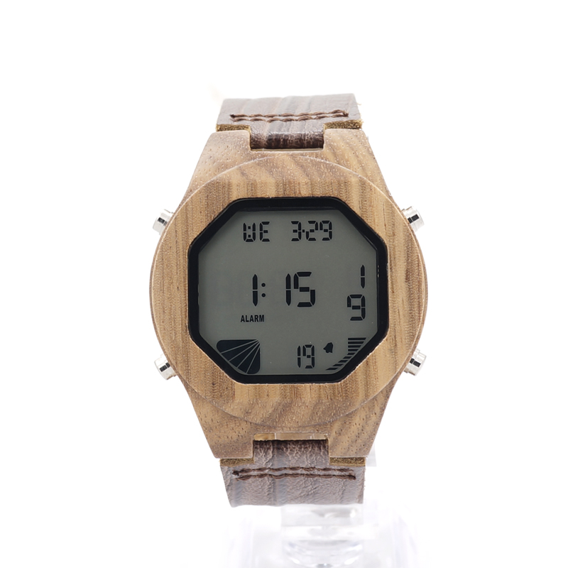 BOBO BIRD Digital Watches for Men Wristwatches with Genuine Leather Band Luxury Complete Calendar Watch for Men as Gifts C-A13