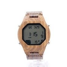 Bobo bird digital relojes para hombres relojes de pulsera con calendario completo reloj de lujo banda de cuero genuino para los hombres como regalo a13