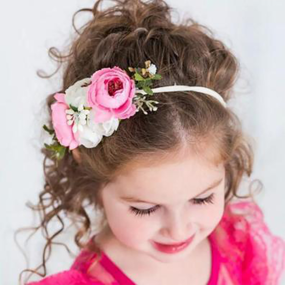 Nishine Summer Flower Crown Headband Kids Soft Nylon Elastic Hairbands Bohemian Wreath Head Bands Baby Girl Hair Accessories
