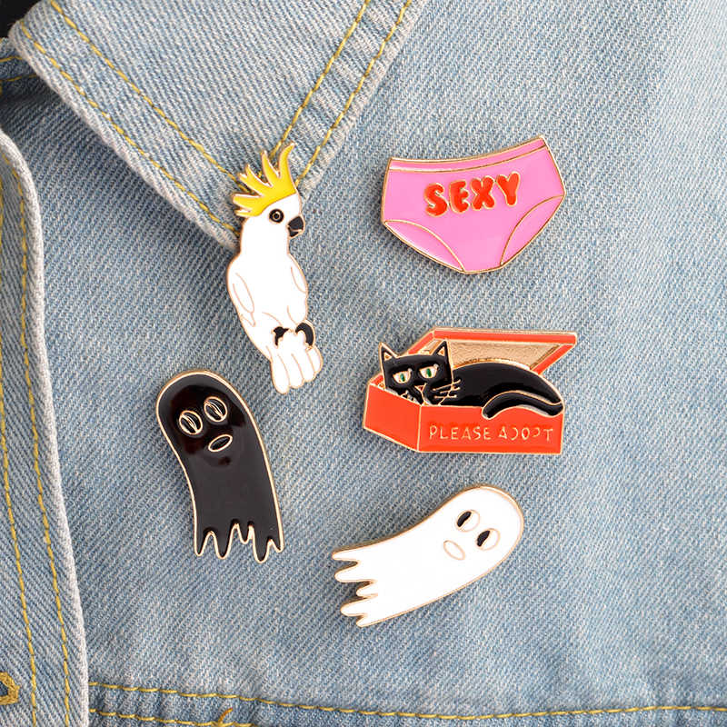 Cartoon Cat box Underwear Parrot bird White black ghost brooch pin button Bag Jacket T-shirt Collar Lapel pin badges Jewelry