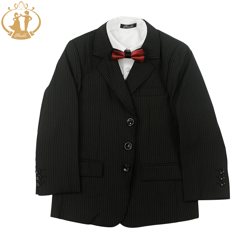 ФОТО Nimble Fashion Three Pieces Boys Blazer Coat Vest Pants Striped Black School Boys Formal Suits 6-13Y